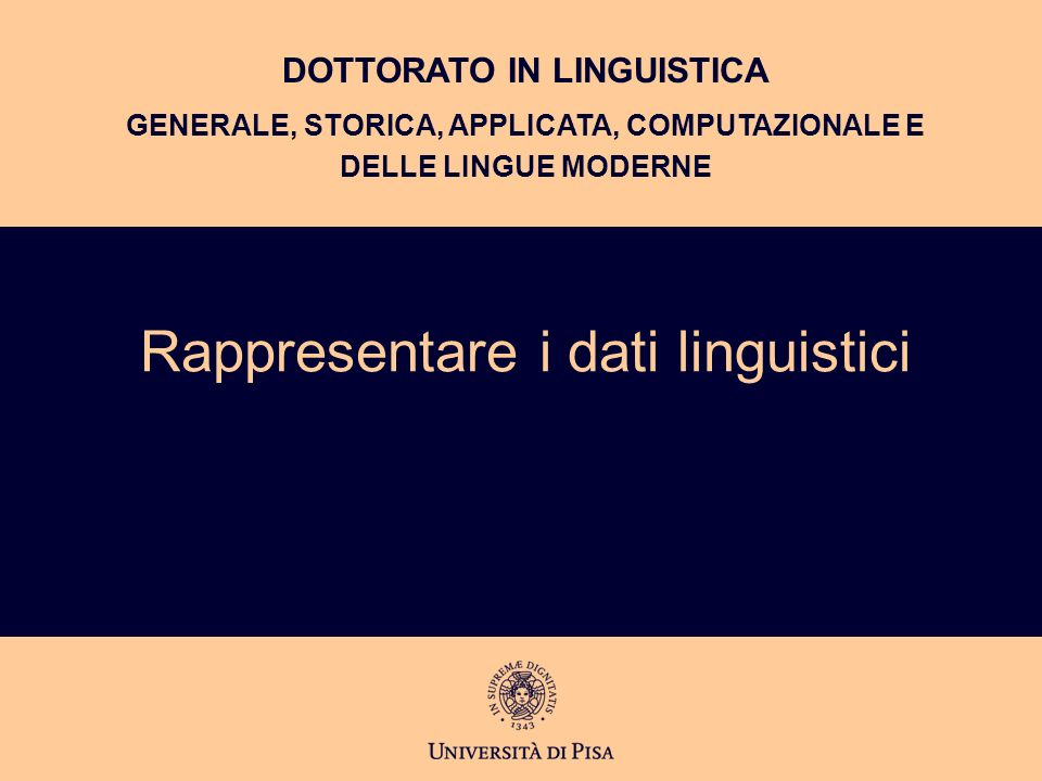 Rappresentare i dati linguistici
