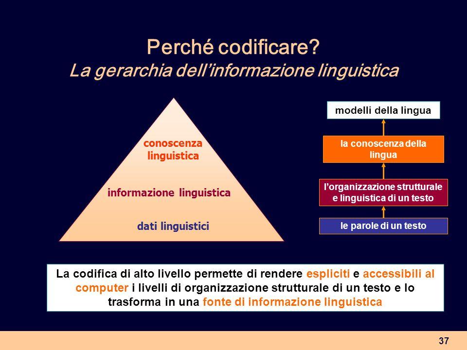 Perché codificare La gerarchia dell'informazione linguistica