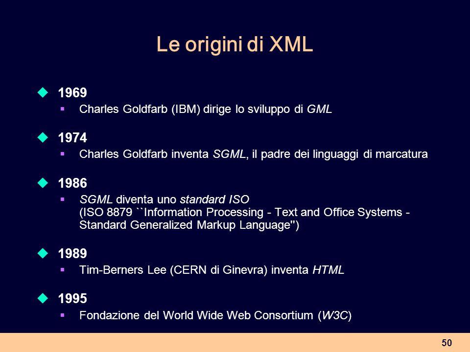 Le origini di XML 1969. Charles Goldfarb (IBM) dirige lo sviluppo di GML. 1974. Charles Goldfarb inventa SGML, il padre dei linguaggi di marcatura.