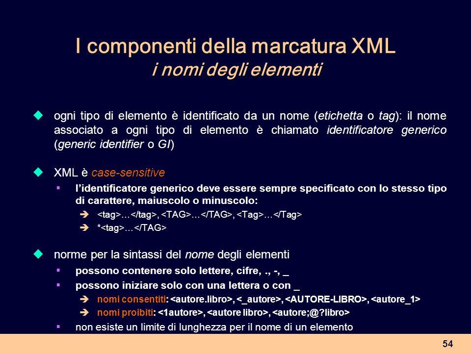 I componenti della marcatura XML i nomi degli elementi