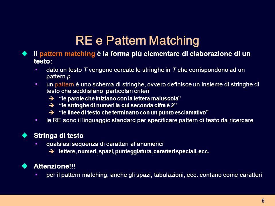 RE e Pattern Matching Il pattern matching è la forma più elementare di elaborazione di un testo: