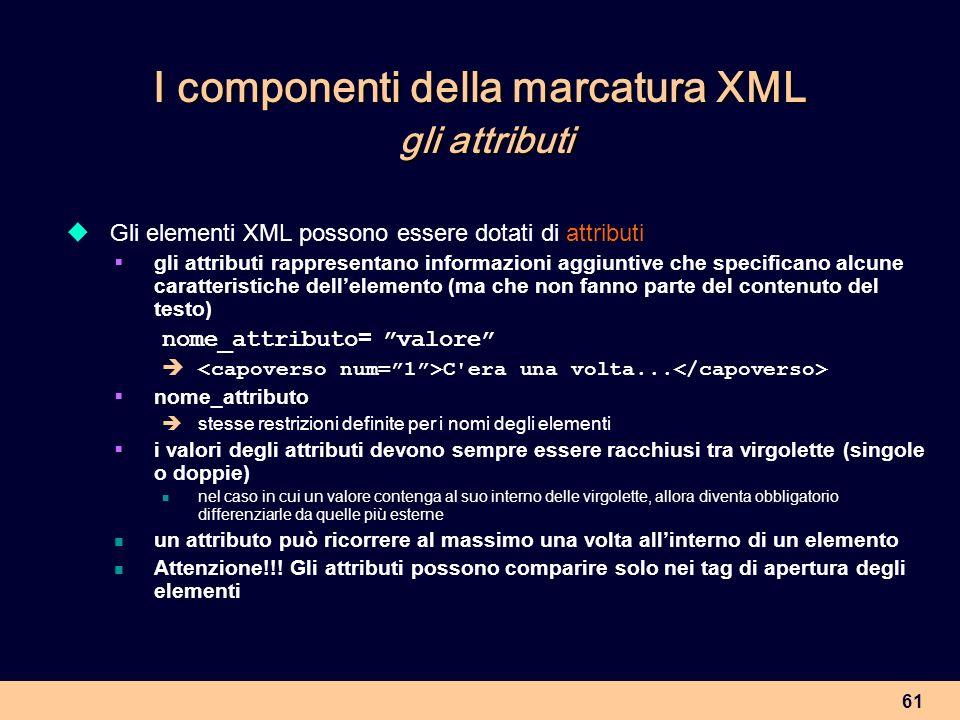 I componenti della marcatura XML gli attributi