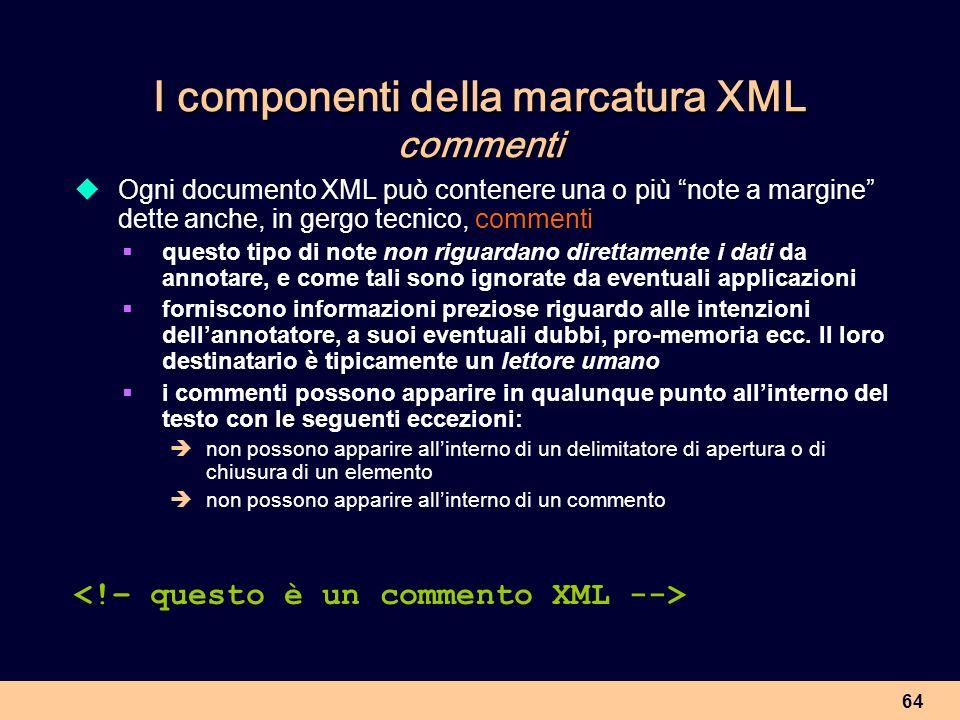 I componenti della marcatura XML commenti
