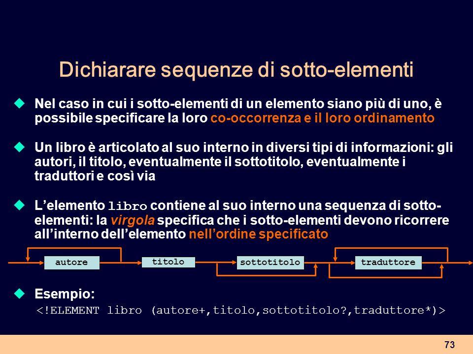 Dichiarare sequenze di sotto-elementi
