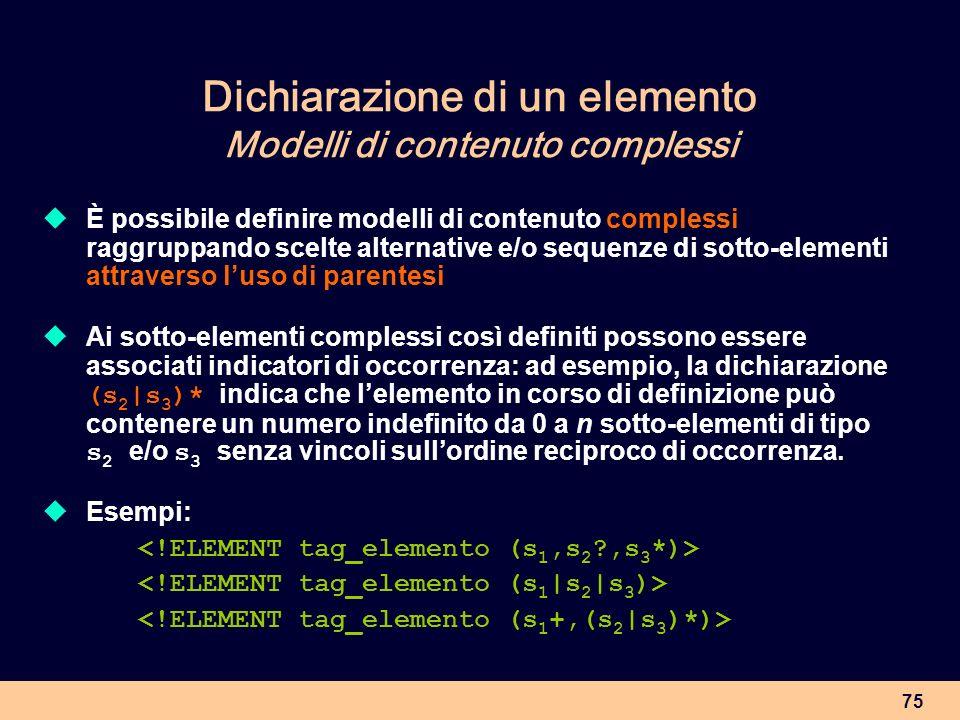 Dichiarazione di un elemento Modelli di contenuto complessi