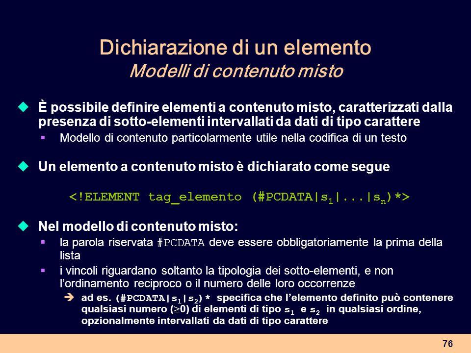 Dichiarazione di un elemento Modelli di contenuto misto