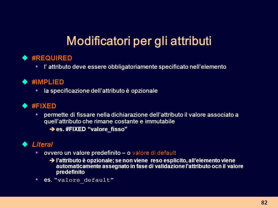 Modificatori per gli attributi