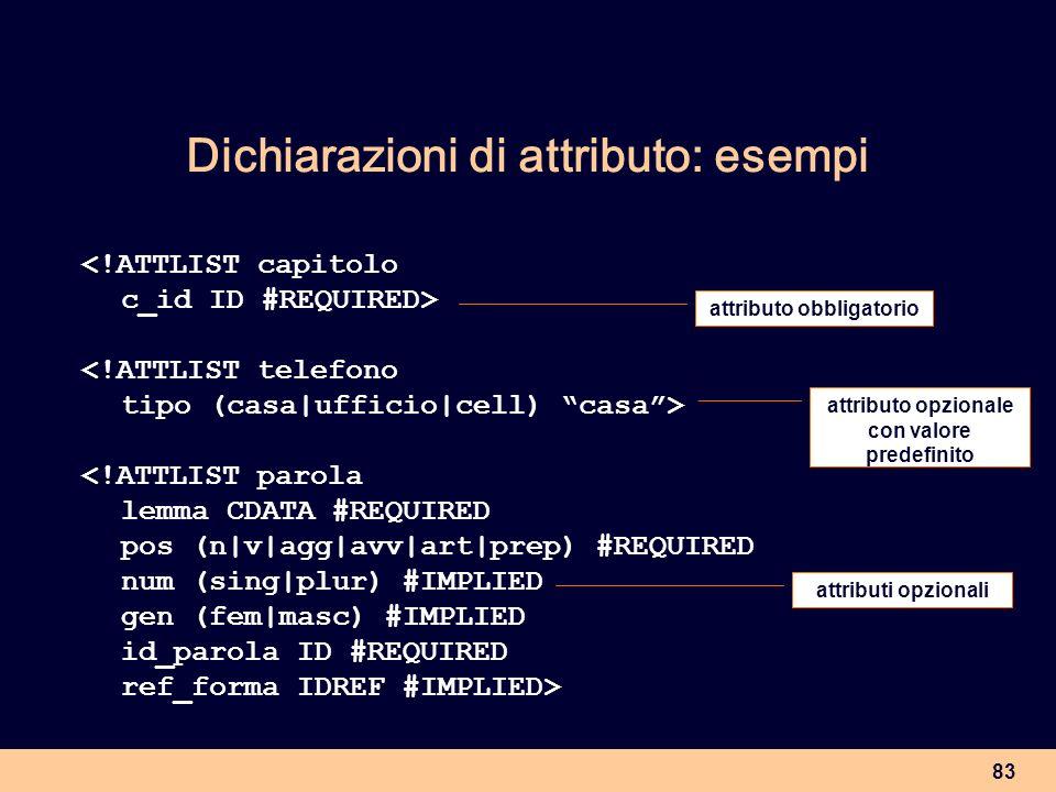 Dichiarazioni di attributo: esempi