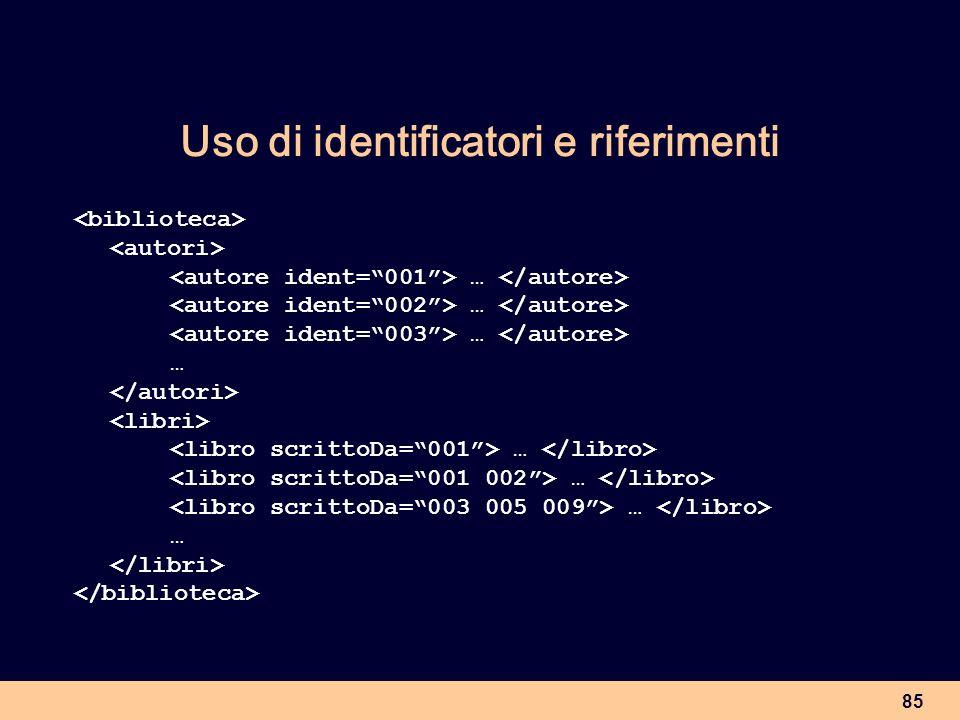 Uso di identificatori e riferimenti