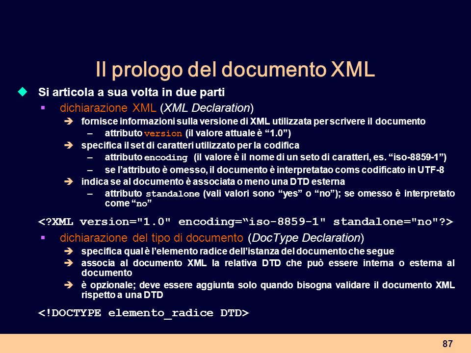 Il prologo del documento XML