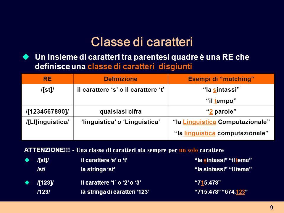 Classe di caratteri Un insieme di caratteri tra parentesi quadre è una RE che definisce una classe di caratteri disgiunti.