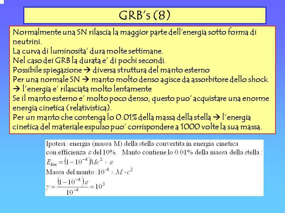 GRB's (8) Normalmente una SN rilascia la maggior parte dell'energia sotto forma di neutrini. La curva di luminosita' dura molte settimane.