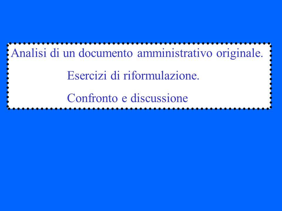 Analisi di un documento amministrativo originale.