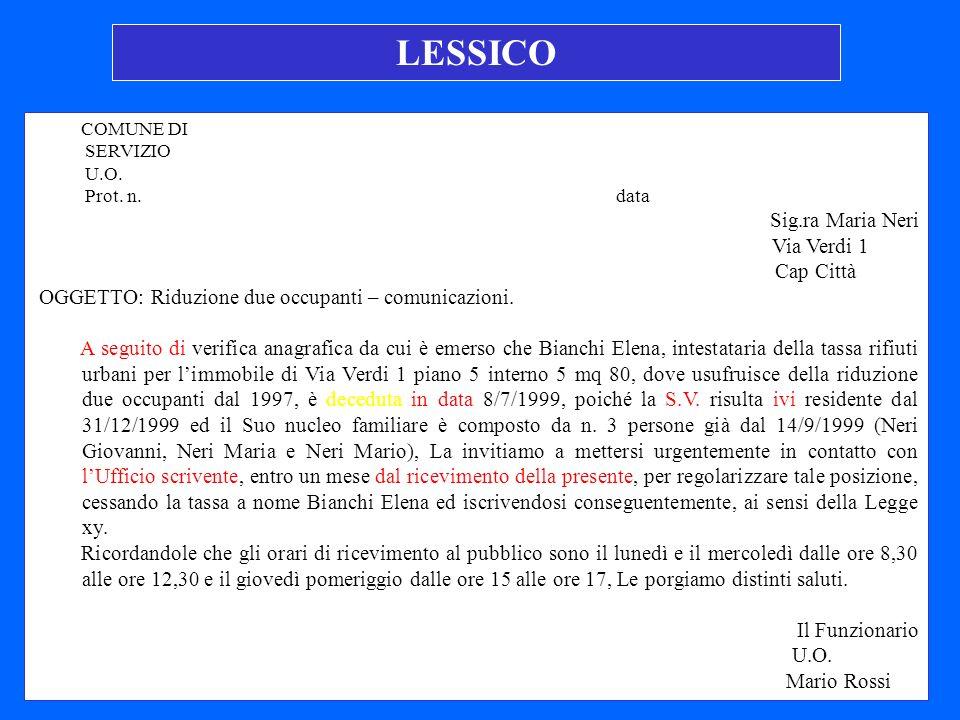 LESSICO Sig.ra Maria Neri Via Verdi 1 Cap Città