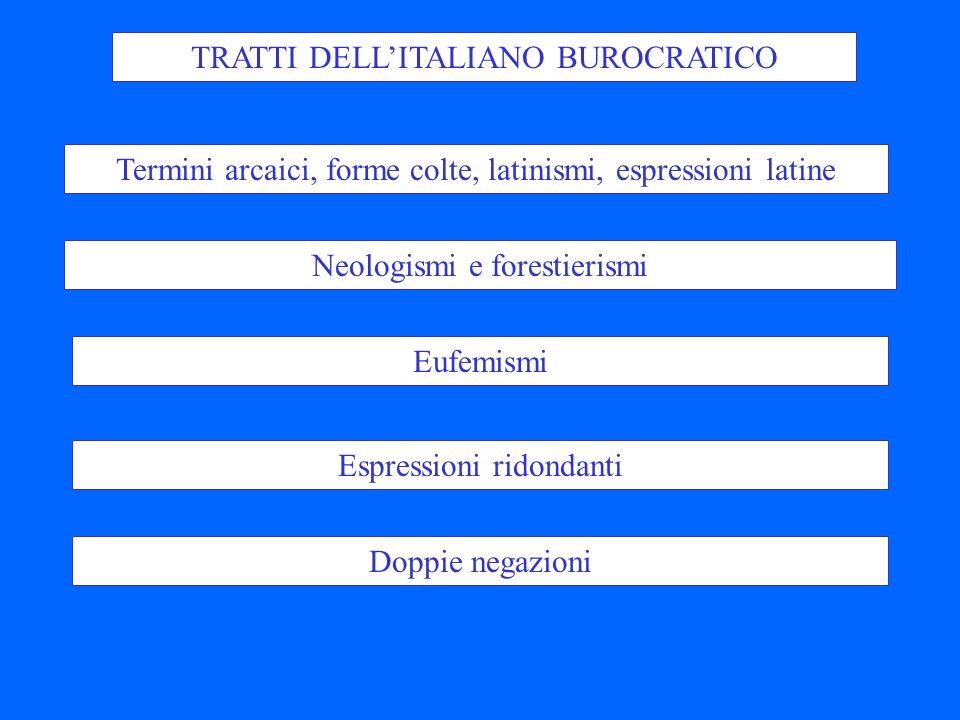 TRATTI DELL'ITALIANO BUROCRATICO