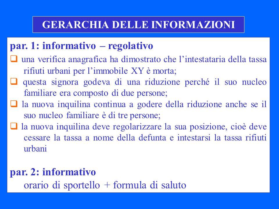 GERARCHIA DELLE INFORMAZIONI
