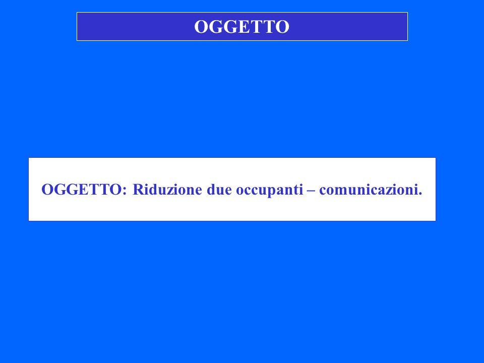 OGGETTO: Riduzione due occupanti – comunicazioni.