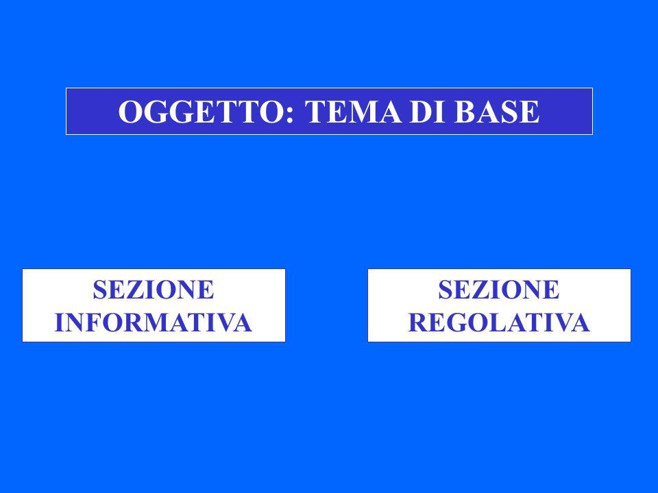 OGGETTO: TEMA DI BASE SEZIONE INFORMATIVA SEZIONE REGOLATIVA