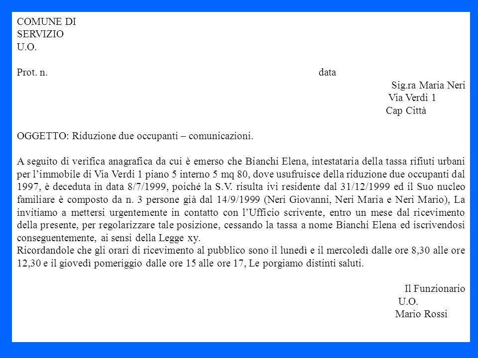 COMUNE DI SERVIZIO. U.O. Prot. n. data.