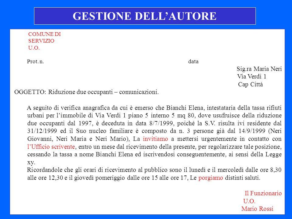 GESTIONE DELL'AUTORE Sig.ra Maria Neri Via Verdi 1 Cap Città