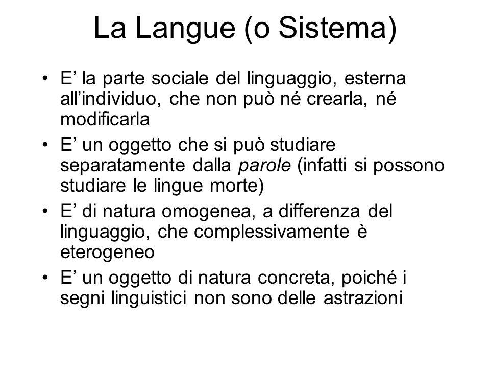 La Langue (o Sistema) E' la parte sociale del linguaggio, esterna all'individuo, che non può né crearla, né modificarla.