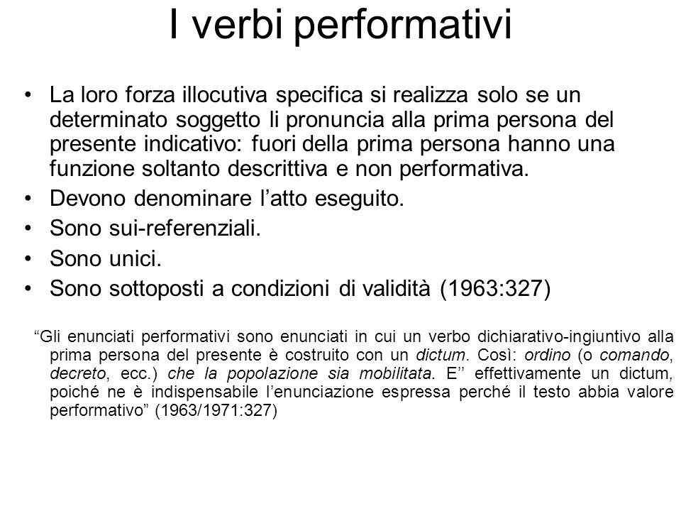 I verbi performativi