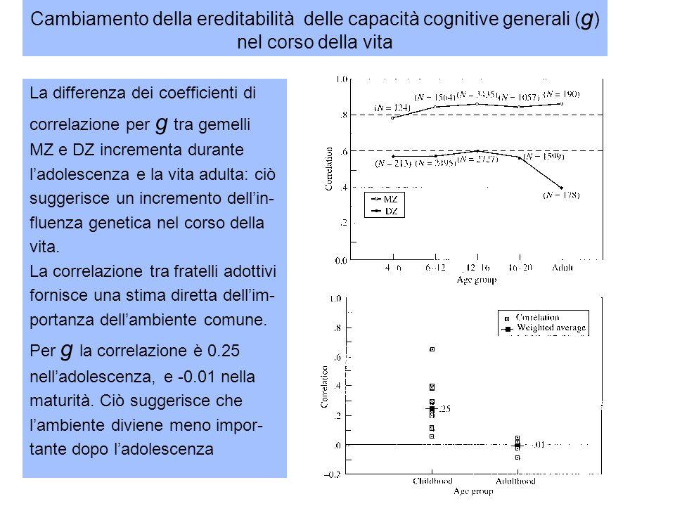 Cambiamento della ereditabilità delle capacità cognitive generali (g) nel corso della vita