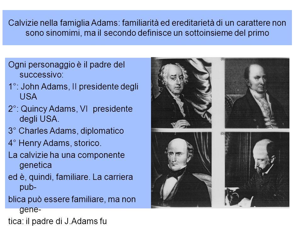 Calvizie nella famiglia Adams: familiarità ed ereditarietà di un carattere non sono sinomimi, ma il secondo definisce un sottoinsieme del primo
