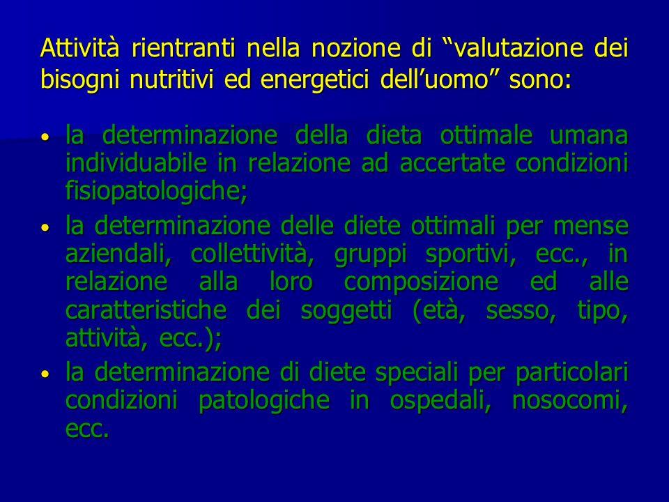 Attività rientranti nella nozione di valutazione dei bisogni nutritivi ed energetici dell'uomo sono: