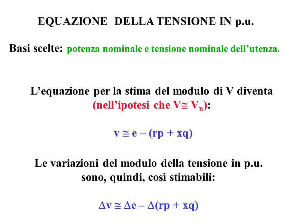 EQUAZIONE DELLA TENSIONE IN p.u.