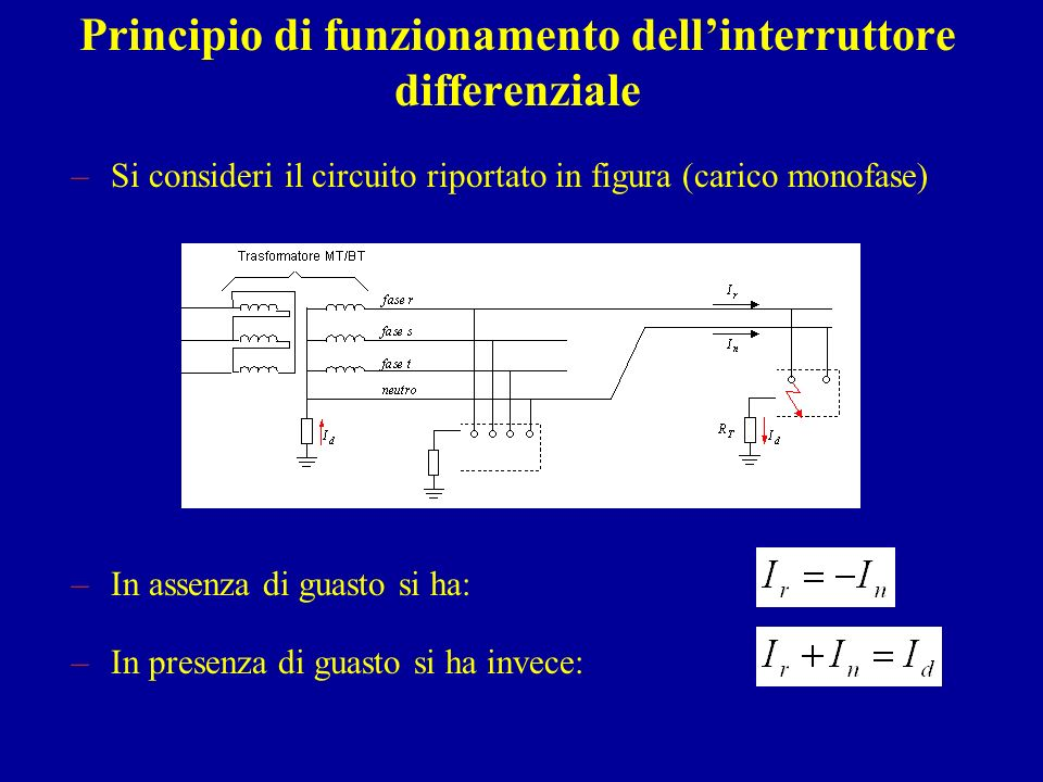 Principio di funzionamento dell'interruttore differenziale