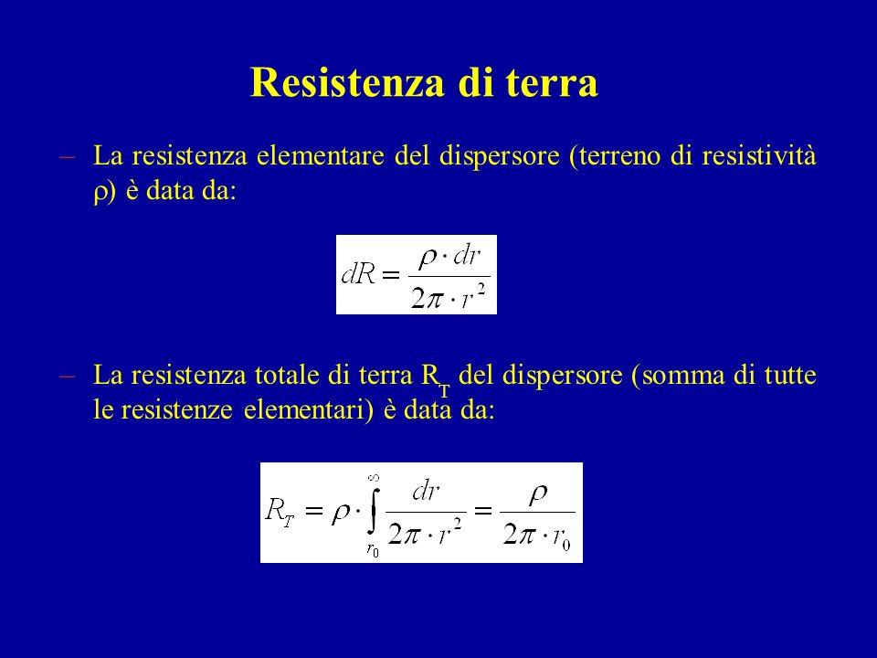 Resistenza di terra La resistenza elementare del dispersore (terreno di resistività ) è data da: