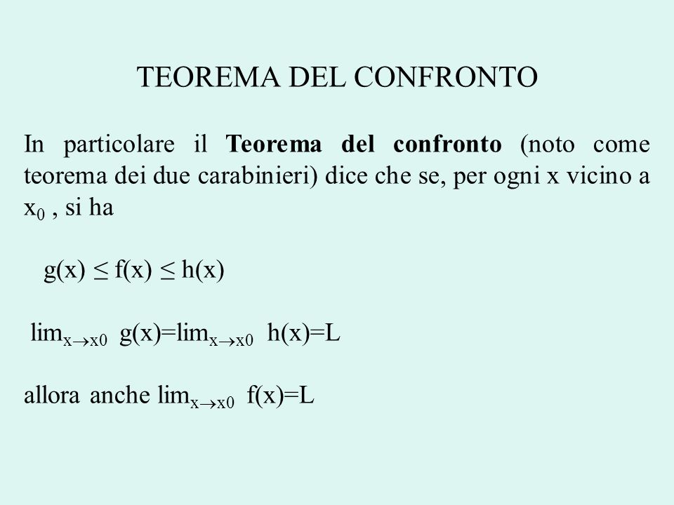 TEOREMA DEL CONFRONTO In particolare il Teorema del confronto (noto come teorema dei due carabinieri) dice che se, per ogni x vicino a x0 , si ha.