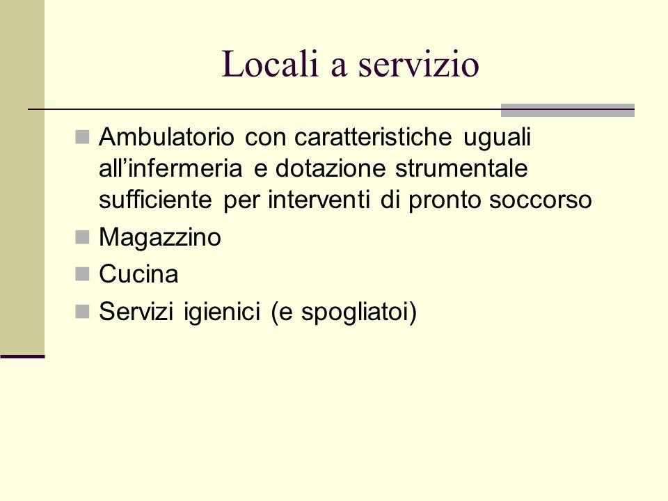 Locali a servizio Ambulatorio con caratteristiche uguali all'infermeria e dotazione strumentale sufficiente per interventi di pronto soccorso.