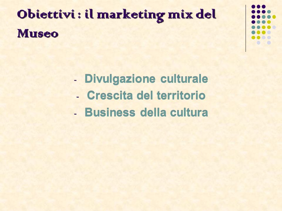 Obiettivi : il marketing mix del Museo