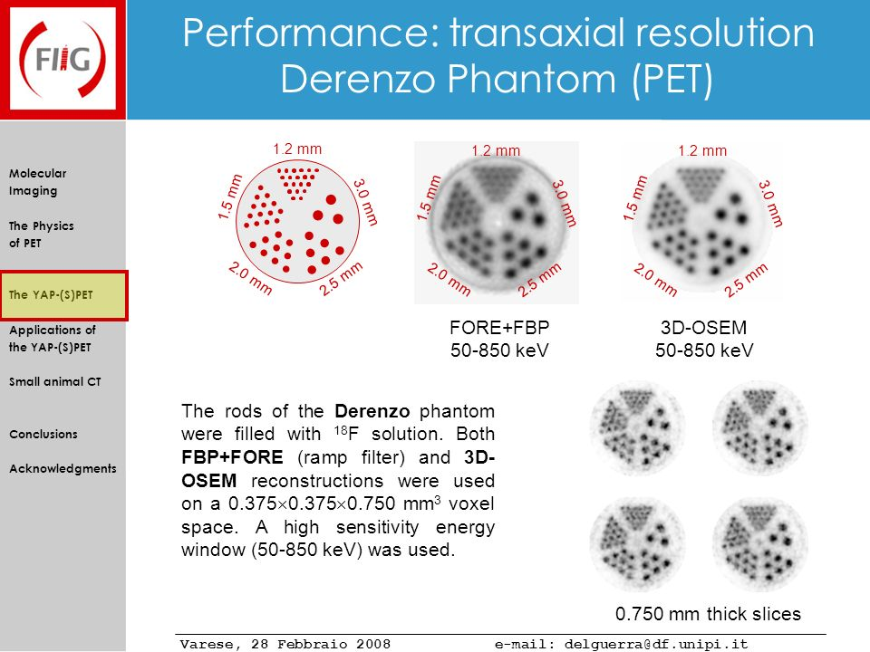 Performance: transaxial resolution Derenzo Phantom (PET)