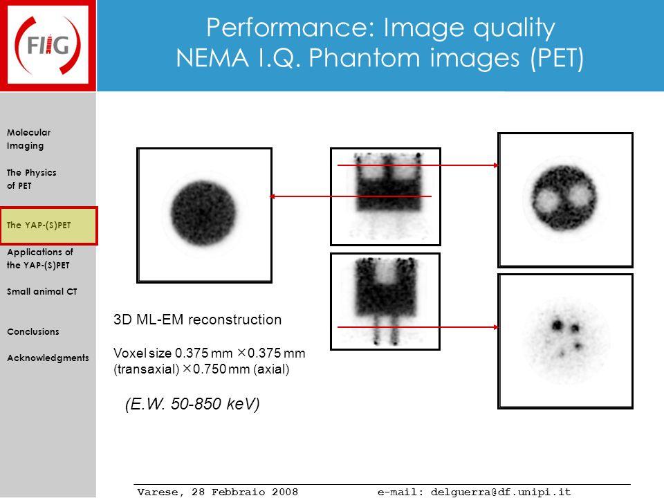 Performance: Image quality NEMA I.Q. Phantom images (PET)