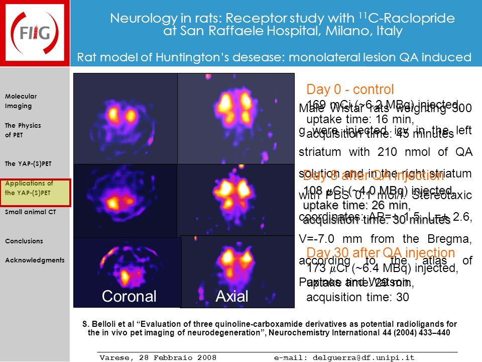 Neurology in rats: Receptor study with 11C-Raclopride at San Raffaele Hospital, Milano, Italy