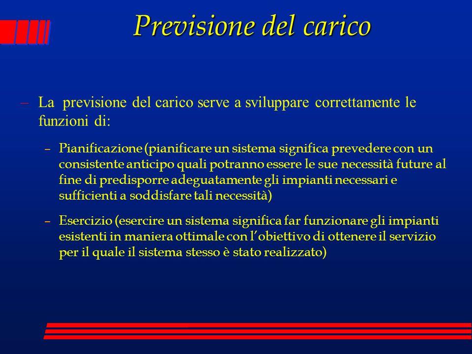 Previsione del carico La previsione del carico serve a sviluppare correttamente le funzioni di:
