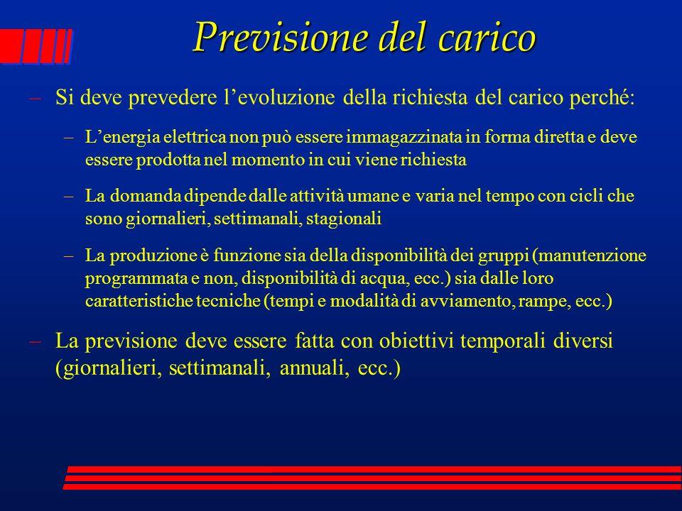 Previsione del carico Si deve prevedere l'evoluzione della richiesta del carico perché: