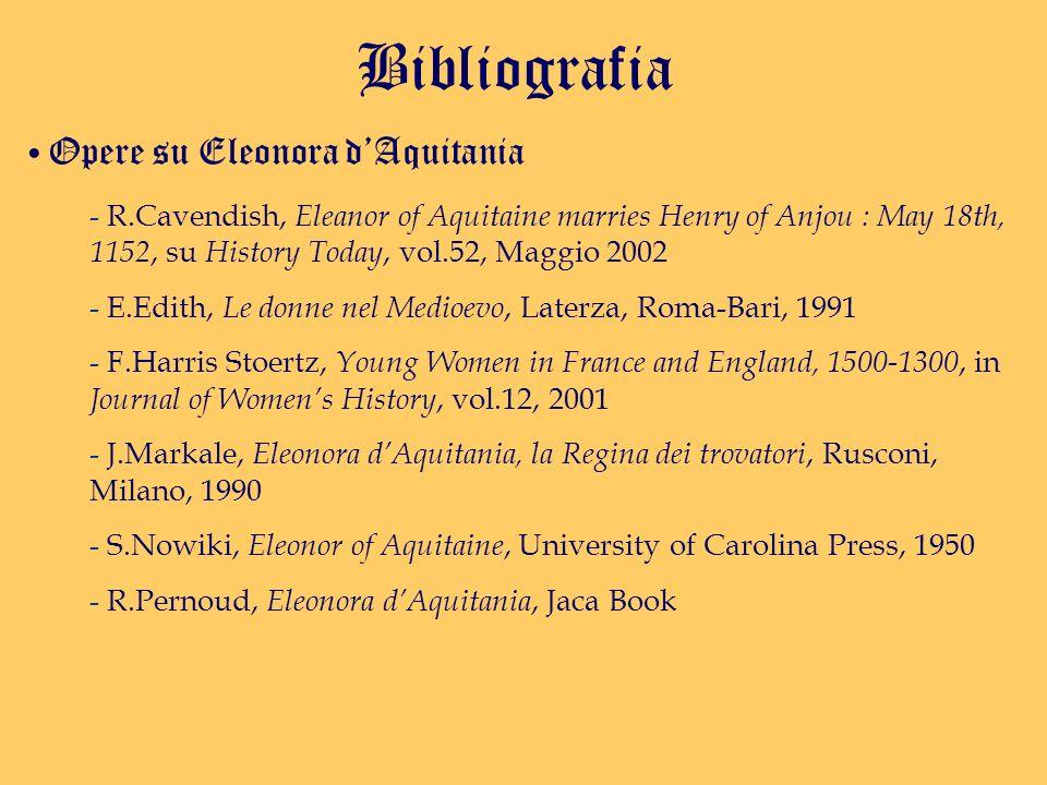 Bibliografia Opere su Eleonora d'Aquitania