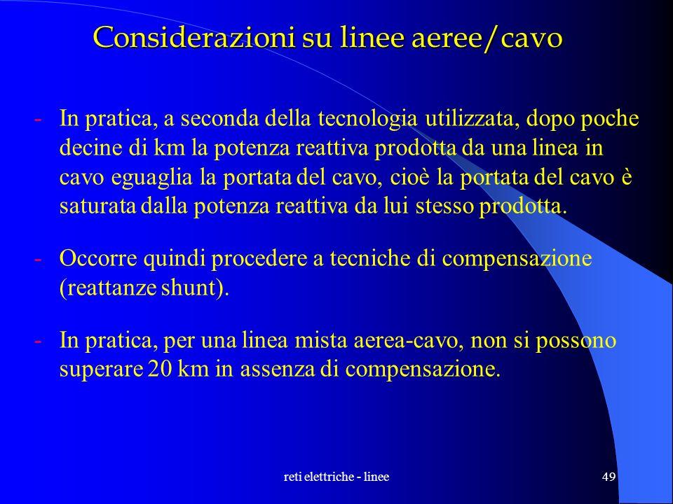 Considerazioni su linee aeree/cavo
