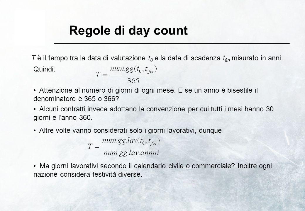 Regole di day count T è il tempo tra la data di valutazione t0 e la data di scadenza tfin misurato in anni.
