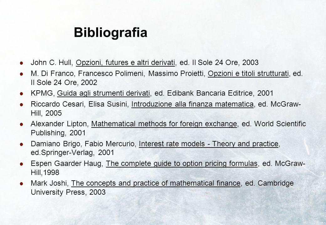 Bibliografia John C. Hull, Opzioni, futures e altri derivati, ed. Il Sole 24 Ore, 2003.