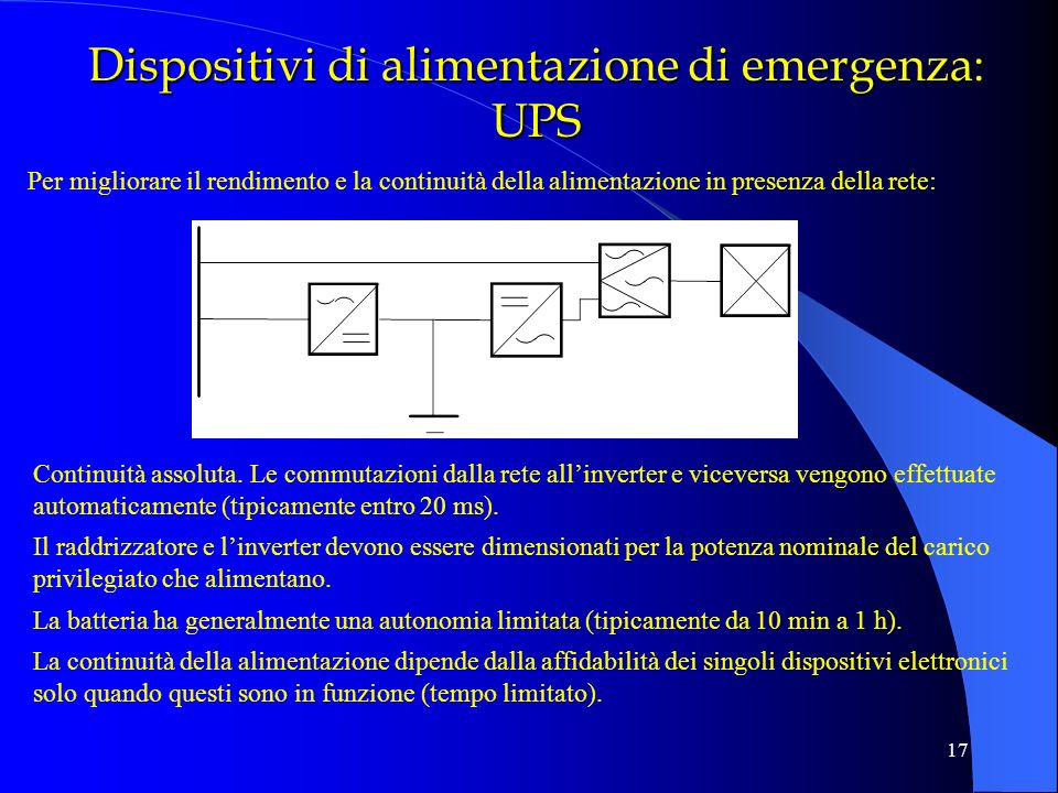 Dispositivi di alimentazione di emergenza: UPS