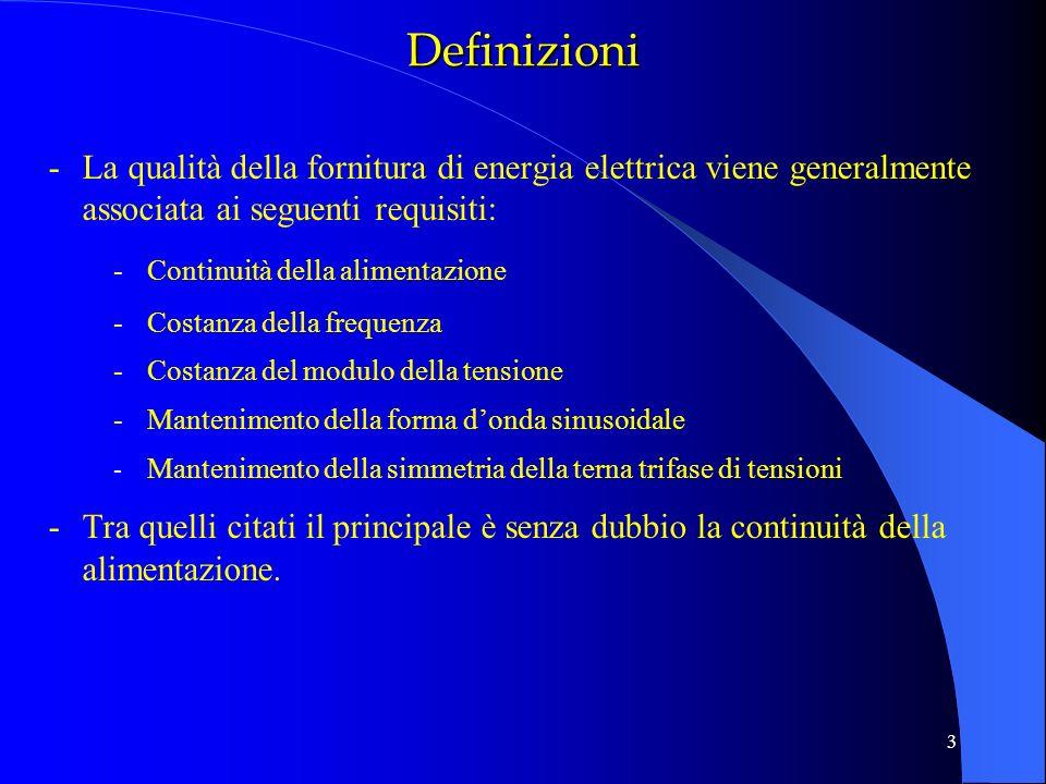 Definizioni La qualità della fornitura di energia elettrica viene generalmente associata ai seguenti requisiti: