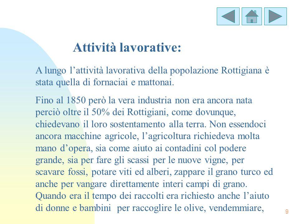Attività lavorative: A lungo l'attività lavorativa della popolazione Rottigiana è stata quella di fornaciai e mattonai.