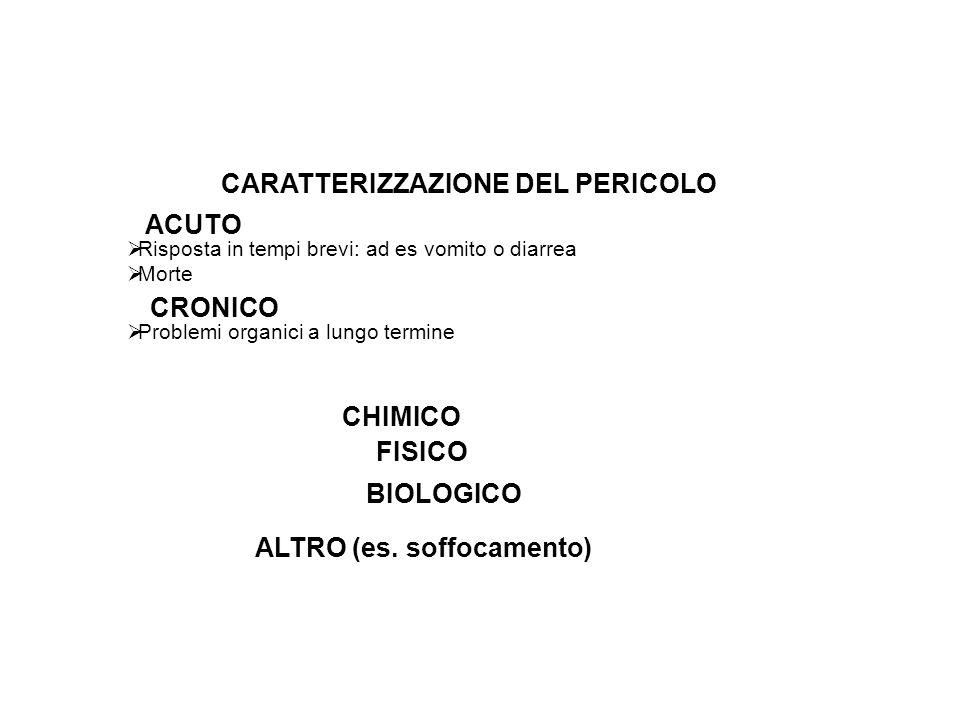 CARATTERIZZAZIONE DEL PERICOLO ALTRO (es. soffocamento)