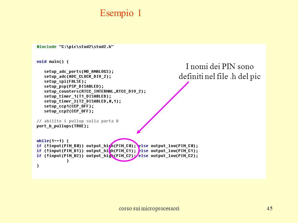 Esempio 1 I nomi dei PIN sono definiti nel file .h del pic