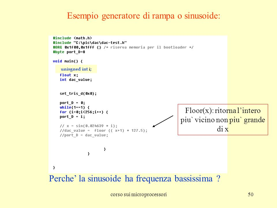 Esempio generatore di rampa o sinusoide:
